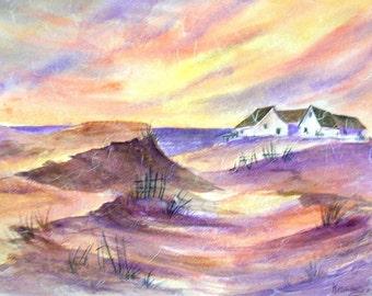 STUDIO SALE - Watercolor Collage Beach Dunes Pastel Colors - Martha Kisling Original Painting