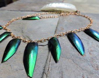 Whimsical Iridescent Green and Blue Elytra/ Elytron/Jewel Beetle Wings Copper Necklace. Goddess Earrings/ Fairy Tale