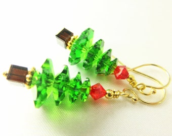 Christmas Tree Earrings in Swarovski Fine Crystal Fern Green and Red on Bali 22k Gold Vermeil or Sterling Silver Wires