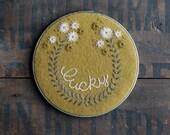 Lucky - Hand Embroidered Hoop Art - Vintage Metal Hoop