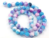 "15 Jade Beads in shades of Sky Blue and Pink  10mm (3/8"") - BD252"