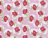 Fabric by the Yard Pink Valentine Rose Tanya Whelan Fabric Shabby Chic Floral One Yard