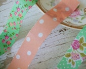 Green and Orange trio washi tape - flowers - ONE METRE of EACH - polka dot washi tape - floral washi tape - Embellishments - Colte tape