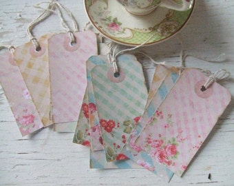 Gift tags - cottage chic tags - gingham - roses - small gift tags - flowers - embellishments - vintage inspired