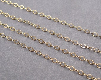 14K Gold Fill Dainty Cable Chain Interchangeable Necklace with 14k Gold Fill Lobster Clasp Finished 16 Inches