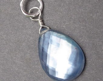Mother of Pearl, Quartz and Lapis Lazuli Sterling Silver Wire Wrapped Pendant Dangle Charm with Sterling Silver Jump Ring