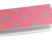 Checkbook Cover Gray and Pink Damask