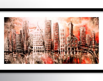 11x17 PRINT Abstract Painting on Glossy Cover Stock, Wall Art, Red Black White Urban City Buildings by Federico Farias