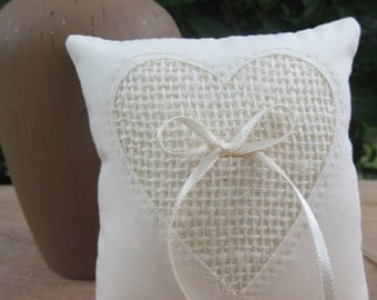 Ivory Ring Pillow with Heart made with Burlap