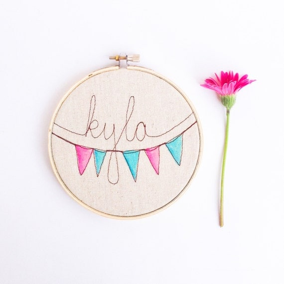 Personalized nursery sign embroidery hoop art by