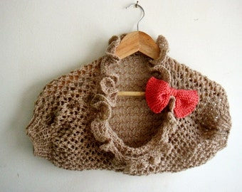PDF Knitting PATTERN, Girl Shrug Bolero, with Knitted Bow Pin, in 4 sizes 243