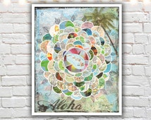 hawaii art - mixed media collage - hawaiian decor - map art - prints