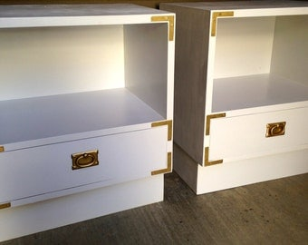 Custom Mid-Century White and Gold Campaign Nightstands / Dresser
