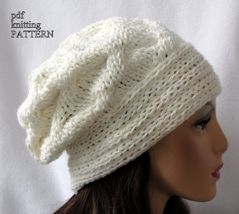 Knitted Hat Pattern Knit slouch beanie pattern Knit Cross