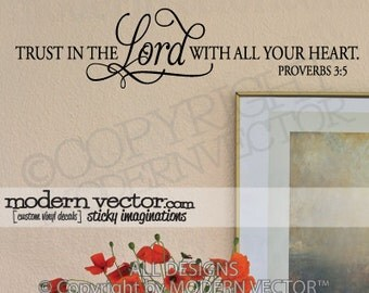 PROVERBS 3:5 LORD Quote Vinyl Wall Decal INSPIRATIONAL Religious Lettering Sticker Home Design Decor