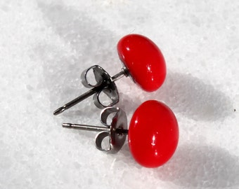 STUDS, Bright Red Glass Stud Earrings, Titanium Post and Backing, Glass Earrings, Red Glass, Fused, Red, Glass Jewelry, Hypoallergenic