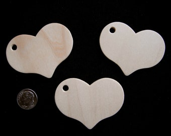 "50 WOODEN HEART TAGS  2"" 5/16""x 1"" 11/16""  Unfinished Wood heart shapes heart tags wedding place tags heart tags wood Craft hearts Gift tags"