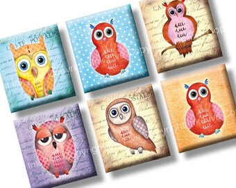 Watercolor Owls scrabble tile images 0.75x0.83 inch. Colorful 4x6'' Digital Collage Sheets for scrabble size pendants. Printable download