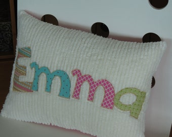 Personalized Pillow with Appliqued Letters Spelling Emma