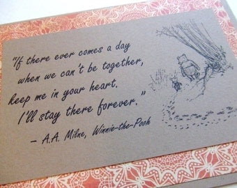 Keep Me In Your Heart - Winnie the Pooh Quote - Classic Piglet and Pooh Note Card Rust Red Lace Border
