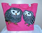 Little Owls Fuchsia Tote Bag Leather Straps XL Weekender Bag / Diaper bag /Black and white Shoulder Bag / Travel Bag