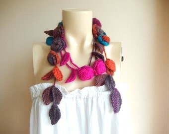 Crochet Lariat  Scarf-Roses  Necklace Scarf-Lariat Necklace -Christmas Gift For Her Girlfriend Wife Mother