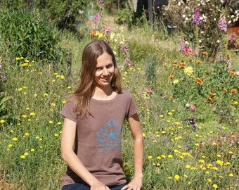 Brown Hemp/Organic Cotton Womens shirt with Woodland Star CA Native Wildflower print natural tee