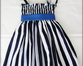 4th of July dress - Navy Blue and white Striped dress - Patriotic Girl Dress - Memorial Day Dress (Available in size 6 months to 6 years)