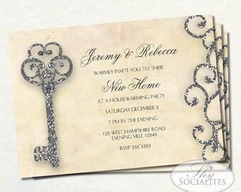 Antique Key Invitation | Vintage Key Invitation | Glitter and Parchment | Housewarming | Engagement | Bridal Shower | Instant Download PDF