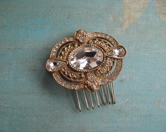 SUSAN ~ Bridal Art Deco Gold Filigree with Austrian Crystal Hair Comb