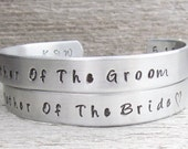 SET of 2 Cuff Bracelet Mother Of The Groom Bride Personalized Hand Stamped Jewelry Wedding KEEPSAKE Initials and Date Included