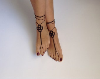 Barefoot Sandals, black, wedding, Bikini, Women, Beach, Bridal Shoes, Bridal Sandals, Bridal Jewelry, shoes, READY TO SHIP