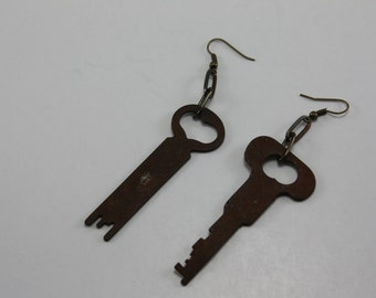 Vintage Keys Handcrafted Repurposed Assemblage Earrings OOAK