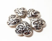 1980 Button Covers- Heart Button Covers- Set of 5 Covers- Silver Embossed- Floral Button Covers- Decorative Covers- Victorian Covers