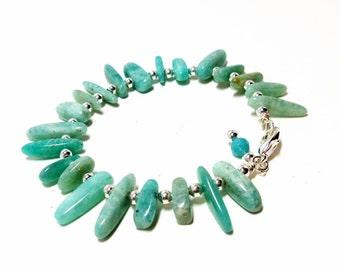 Amazonite Bangle- Bangle Bracelet- Wire Wrap Bracelet- Blue Bangle- Gemstone Bangle- Stone Bangle