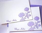 Personalized Letterpress Stationery Chrysanthemum Blossoms Card Set