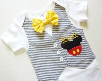 Mickey Mouse Tuxedo Bodysuit Vest with Matching Removable Bow Tie