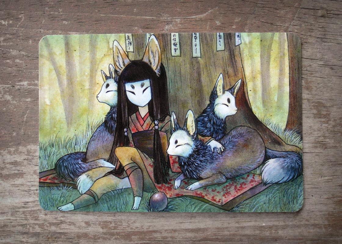 Japanese Fox Mask Drawings: Silent Crossing Fox Kitsune