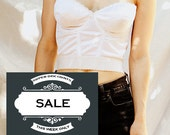 White Cropped Bustier Strapless Top Pin Up Style 36 D