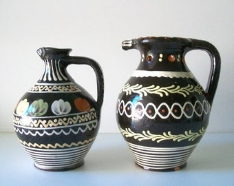 Vintage Marked Mexican Pottery Pitchers, Water Jug, Ewer
