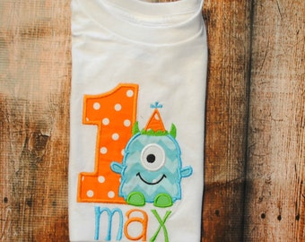 Personalized Monster Birthday Shirt or Bodysuit