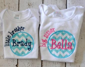 Sibling Shirt/bodysuit Shirt Big Brother, Little Sister, Big Sister, Little Brother with Initial and Name