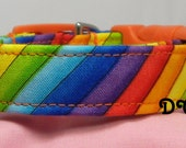 Dog Collar Colorful Rainbow Fun Bold Rich Stripes of Yellow Purple Blue Green Orange Dogs Collars Adjustable D Ring Choose Size Accessory