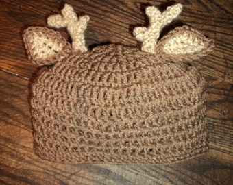 Deer Hat- crochet knit buck horns antlers hunting whitetail- sizes 2T and up