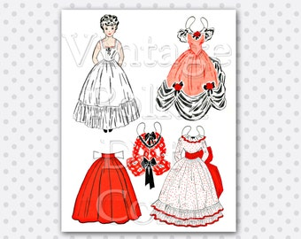 Paper Doll Vintage Printable Paperdoll 1940's Doll with Pretty Dresses Gowns Girl Digital Printable Collage Sheet