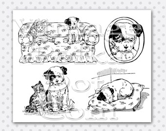 Vintage Clip Art Puppy and Kitten Collage Clipart Collage Sheet Printable Digital Instant Download Scrapbooking