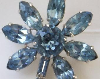 Vintage jewelry brooch Juliana style blue rhinestones in silver tone 1950s wedding brooch Sale half price