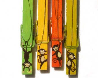 MONKEY CLOTHESPINS hand painted magnetic