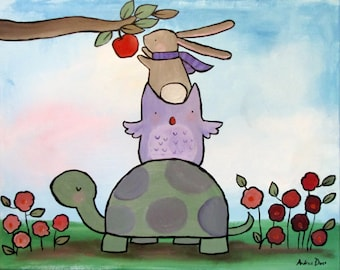 Animal Friends Art Print Wall Nursery Decor Cute Whimsical Decor for Kids