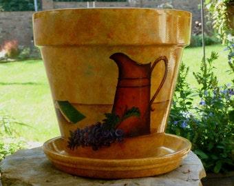 Painted Terracotta Flower Pot / Books Still Life